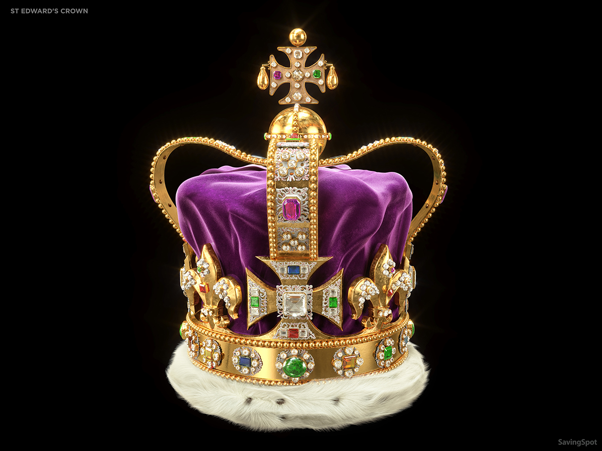Picture of St. Edward's Crown. It has a white brim and a purple dome with gold embellishments and jewels